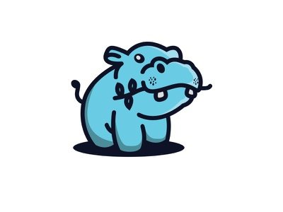 Hungry Hippo blue navy line bold logo creative illustration animal design little cute hippo