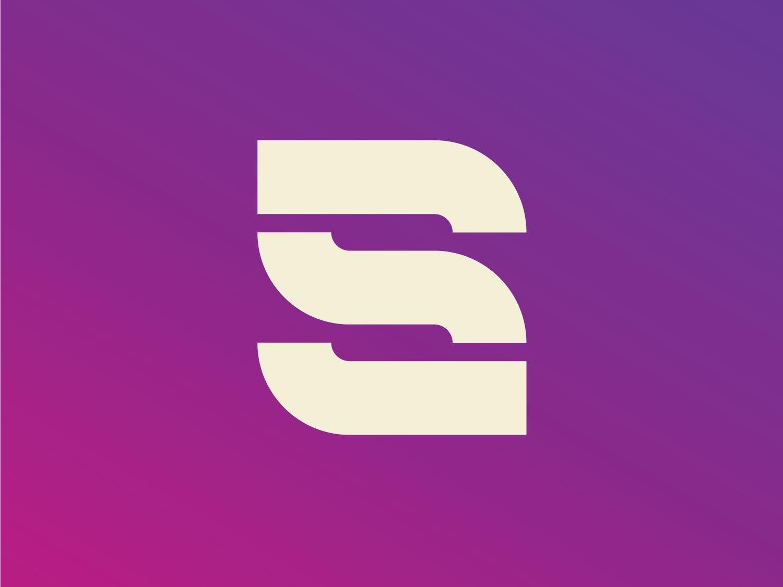 S letter mark typo logo mark construction typo lettering line bold colors purple modern gradient letter s