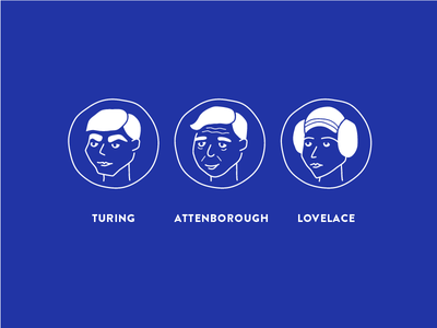 Shopify Meeting Room Decals decals illustration attenborough lovelace turing shopify scientist