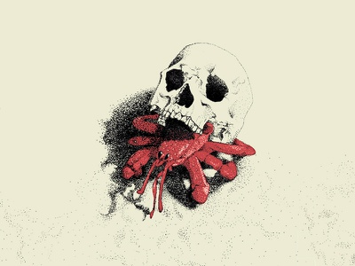 Skull Dwelling Hermit Crab graphic design stipple drawing icons crabs skull silkscreen printmaking micron ink illustration design