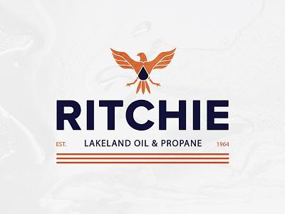 Ritchie Lakeland Oil & Propane Logo texture eagles illustration design logo