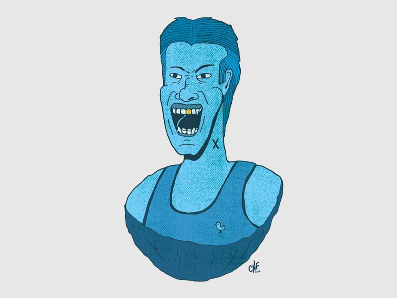 X hand drawn illustration hair yell rock teeth gold color halftone blue guy