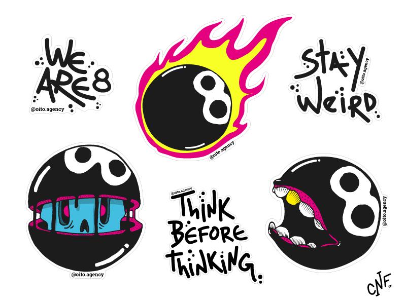 Oito Stickers agency design fire 8 ball illustrator illustration stickers hand drawn