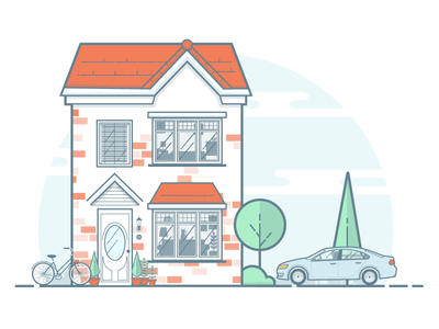 home house car bike flat illustration