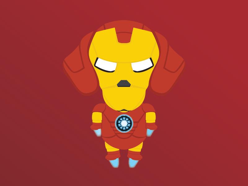 Iron Dog ironman robot dog dachshund illustration fanart avengers superhero
