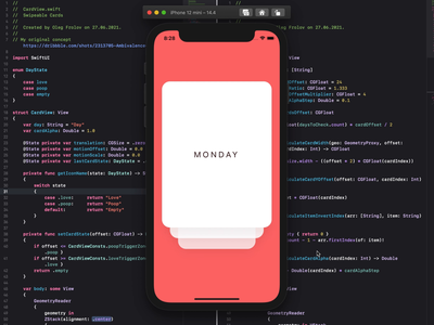 Swipeable Cards mobile microinteractions swipeable cards xcode swift ios swipe cards ui animation pet project prototype swiftui mobile design animation ux ui