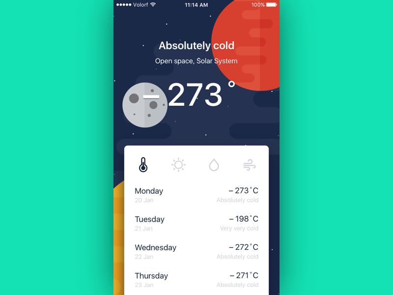Cosmic weather app mobile ios 037 minimal cosmic app weather dailyui ui ux