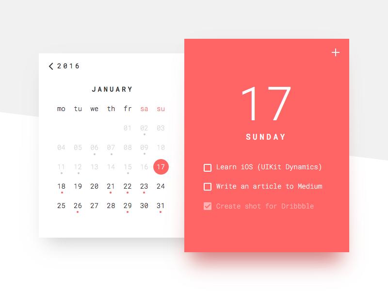 Calendar Design Application : Calendar by oleg frolov dribbble