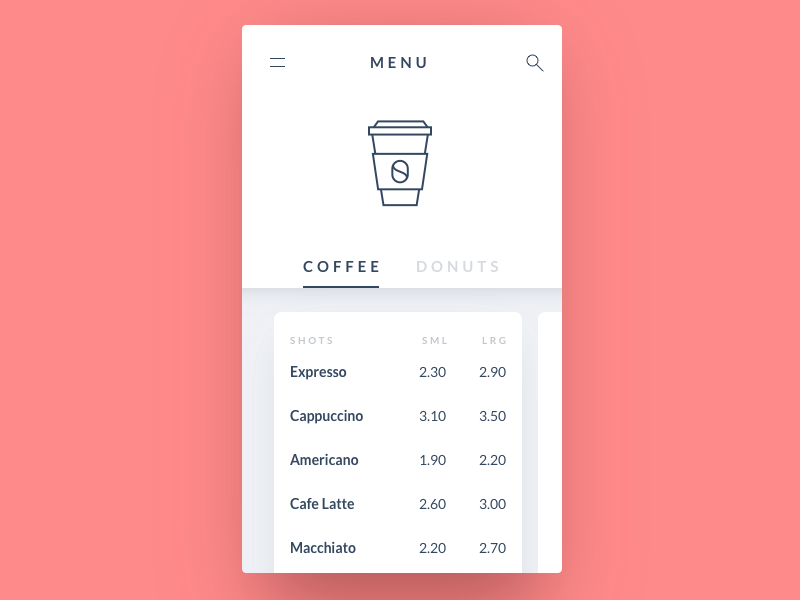 Coffee menu card drink food menu coffee minimal 43 dailyui app mobile ux ui