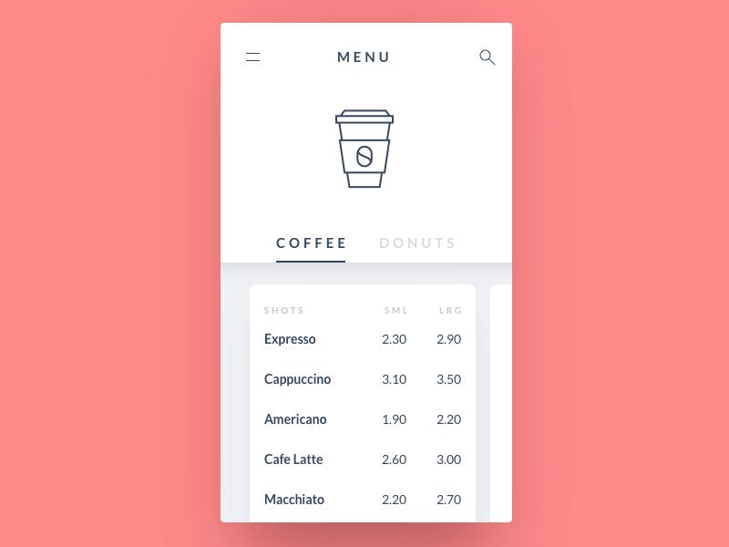 Coffee menu card drink food menu coffee minimal 43 dailyui app mobile ux ui