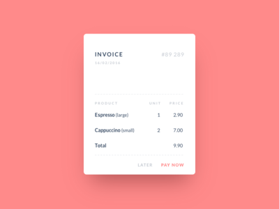 Invoice pop-up e-commerce overlay simple dailyui clean card modal invoice ux ui
