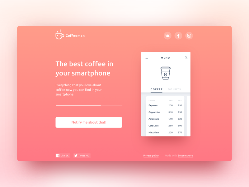 Coming soon ll progress subscription notify coming soon page template coffee button web ui ux