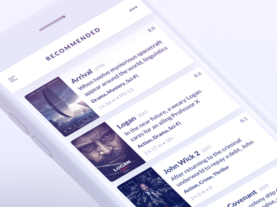 Recommended movie list simple clean rating movie recommended card table list ios iphone ui ux