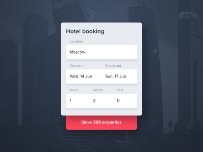 Hotel booking form text field popup web search clean modal card booking hotel ui ux