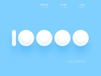 10000 followers! minimal shapes geometric thank typography minimalist simple friends dribbble 10000 10k followers