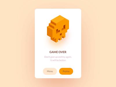 Game over alert illustration ui ux game design skull character 3d mobile notification card modal view alert