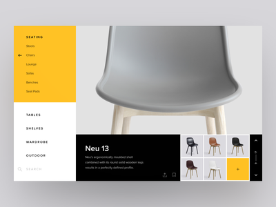 Furniture Product Card site sidebar menu navigation product card gallery exploration ui ux webdesign furniture web