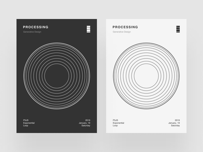 Processing Poster II helvetica procedural poster processing p5 minimalist minimalism light graphic design circels generative design dark