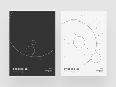 Processing Poster III abstract simple procedural processing p5 poster minimalist design minimalism graphic design generative design circles dark