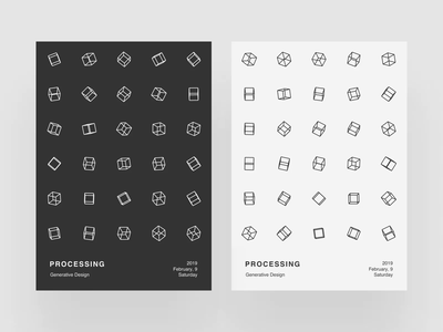 Processing Poster V simple procedural minimalist design minimalism graphic design animation cubes generativedesign poster p5 processing abstract
