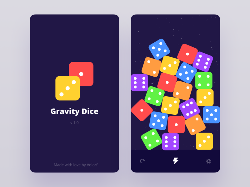 Gravity Dice [Android and iOS app] ios app android app dice board game simple app ui ux pet project madewithunity unity mobile app app