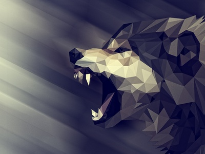 Low poly wolf growling angry dark design wild illustration animal polygons low poly wolf