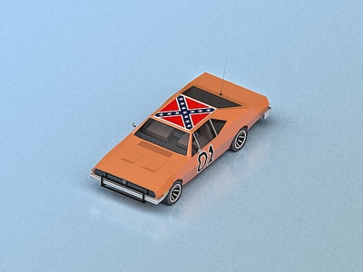 The General Lee (isometric) tv show the dukes of hazzard 80s dodge charger isometric cgi 3d low poly car general lee