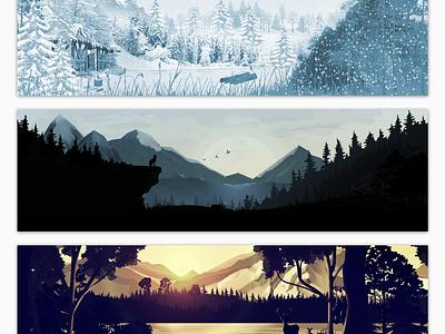 Sceneries Illustrations - Jungle sunset wolf forest jungle underwater parallax hero landscape illustrations illustrator photoshop