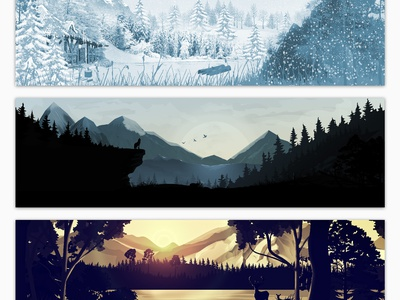 Sceneries Illustrations - Forest rising sun montains nature lake pines tree animal deer sunset baby forest landscape