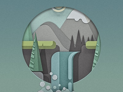 Low poly waterfall waterfall water tree pines montains paper cut artwork papercut icon avatar flat lowpoly