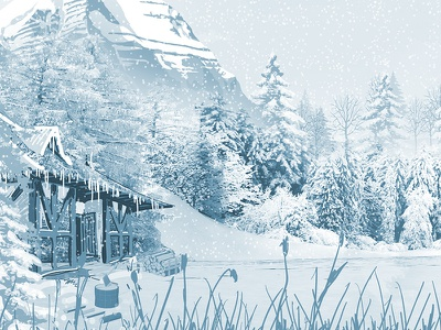 Sceneries Illustrations - Winter snowflakes snow cabin winter wolf forest jungle landscape illustrations