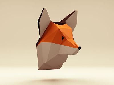 Low poly Fox wild trophy polygones low poly sunset fox head animal 3d cinema4d threejs lowpoly