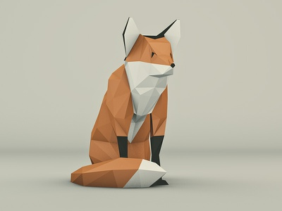 Low poly Fox Full polygones low poly sunset fox head animal 3d cinema4d threejs lowpoly