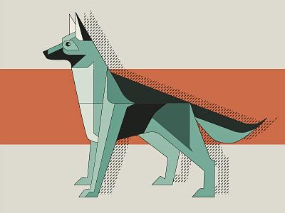 Dog Illustration german nature animal orange flat vector illustration dog