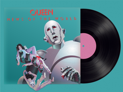 """""""News of the World"""" by Queen 1977 affinitydesigner illustration album cover art queen"""