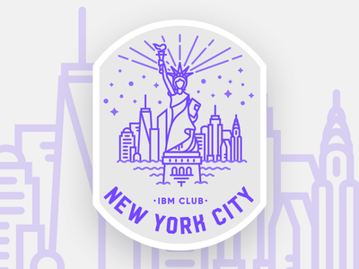 IBM Club NYC Badge skyline lady liberty statue of liberty chrysler building one world trade empire state building new york city nyc