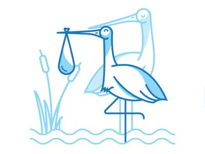 A happy couple storks ibm parental leave