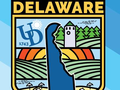 Delaware Badge 1 colors delaware thick lines symbol badge illustrator vector