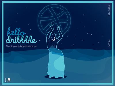 Dribbble Debut colors illustrator gradient 65bold hello dribble vector debut