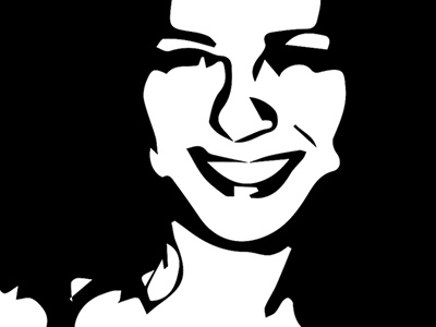 Happines woman look happy curves face simple path illustration black and white