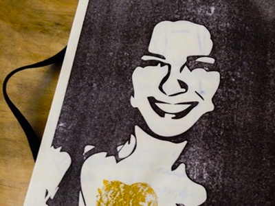 Happines printed gold printed print woman look happy curves face simple path illustration black and white
