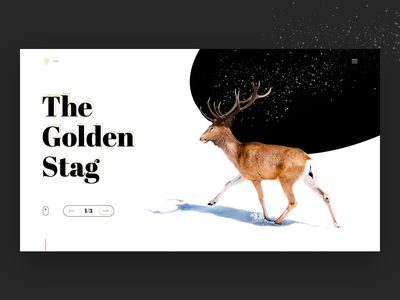 The Golden Stag landing animal interface web design golden minimal stag deer concept clean web ui