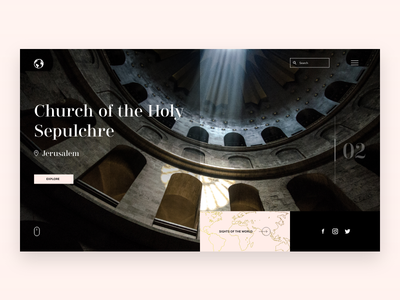 Historical sights travelling traveller travel world maps sightseeing sights art museum church history dark interace minimal web design clean web ui