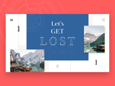 Let's Get Lost Homepage freebbble freebie earth planet tourism boat mountain lake ui web clean web design minimal interace sights sightseeing world travel traveller travelling