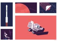 Mars Exploration duboisdesign teddubois color print poster icon illustrator digitalart retro mars spacex space nasa collage illustration art minimalistic digital editorial graphicdesign