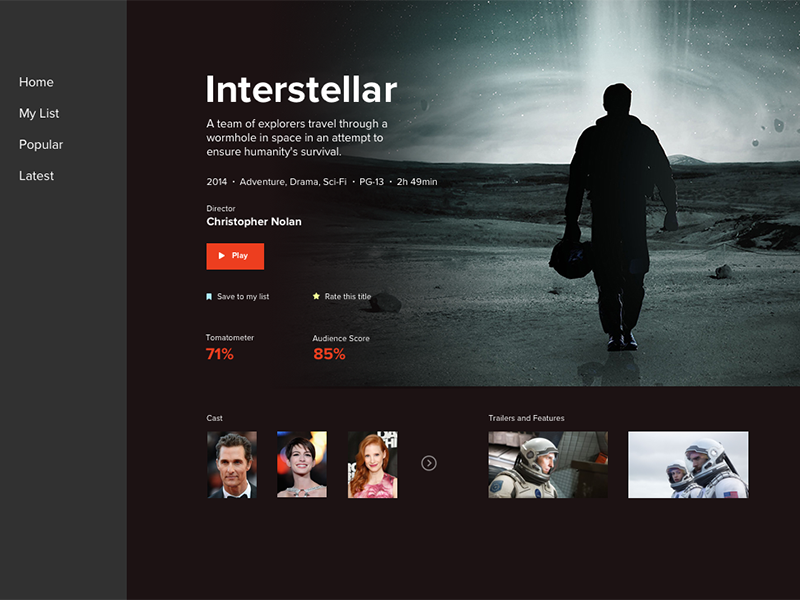 Streaming UI Concept play rating streaming interstellar movie tv ui