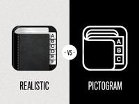 Icon - Realistic vs Pictogram