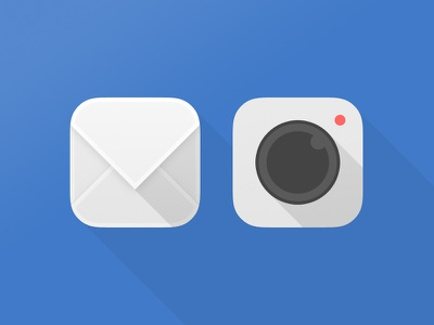 Mail & Camera iOS icons icon ios mail camera flat light blue