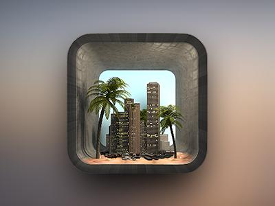 Citybeach iOS Icon ios iphone 3d city sand beach tree
