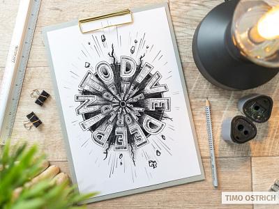 """Lettering """"Dive Deep"""" handlettering illustration 3d letters lettering"""